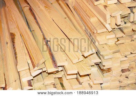 Timber, lumber, processed wood Board siding closeup