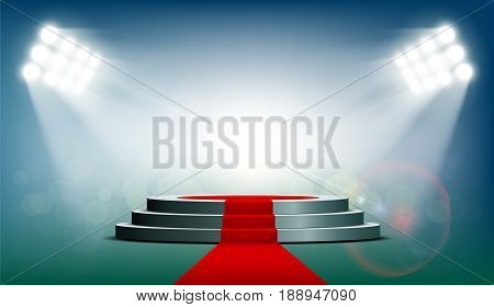 Round podium with a red carpet is illuminated with spotlights. Exhibition background for presentation and rewarding. Stock vector illustration.