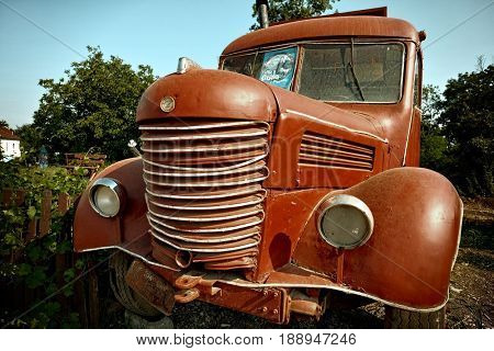 Knic, Serbia - JULY 23, 2015: an old red bus similar to that used in the movie