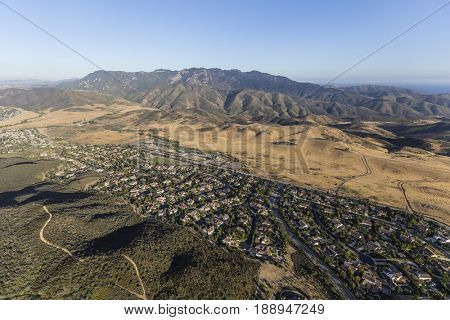 Aerial view of Newbury Park homes and the Santa Monica Mountains National Recreation Area in Ventura County, California.