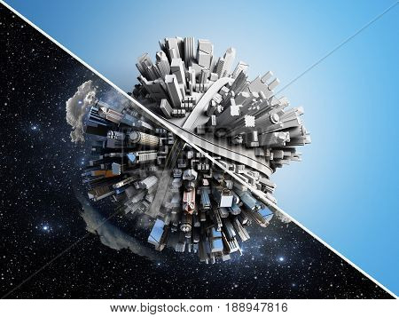 Megalopolis Aerial View 3D Render Image On Blue