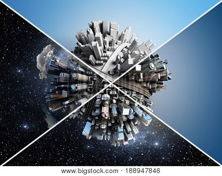 Megalopolis Aerial View 3D Illustration Different Backgrounds