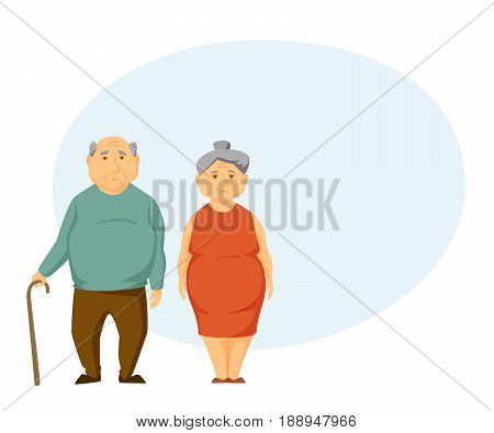 Sad old couple stand together and hold hands. Unhappy elderly man and women.