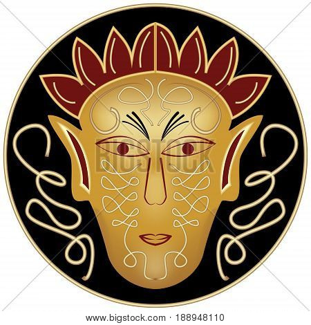 Golden ritual male mask in black circle with curl decor
