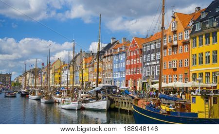 COPENHAGEN, DENMARK - MAY 22, 2017- Nyhavn - Iconic view of the most famous tourist attraction in Copenhagen