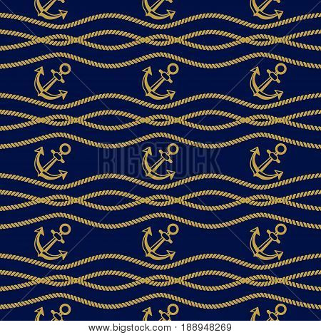 Seamless pattern with anchors. Ongoing stripes background of marine theme golden color. Vector illustration
