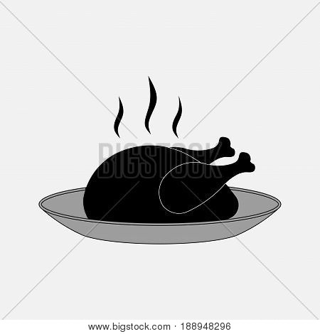 icon chicken plate cooked poultry fully editable vector image