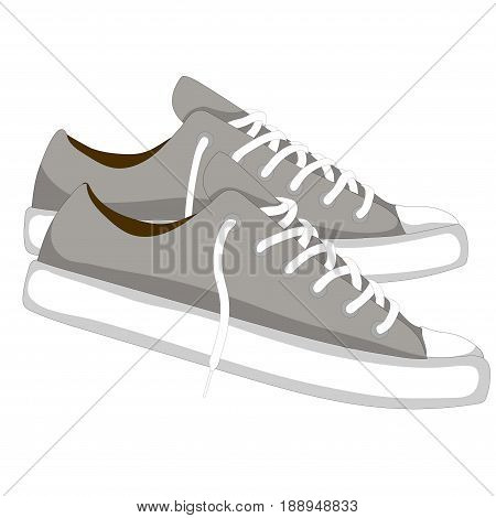 Fashionable woman s shoes snickers. Vector design elements isolated on white