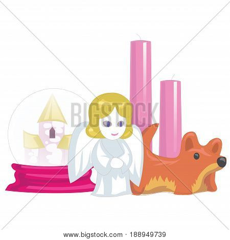 Souvenirs and home accessories, candle and pink box. Vector illustration