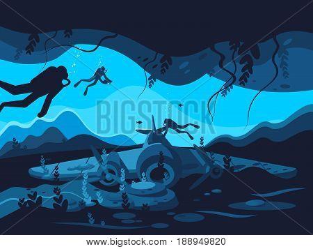 Sunken plane on ocean or sea bottom. Vector illustration