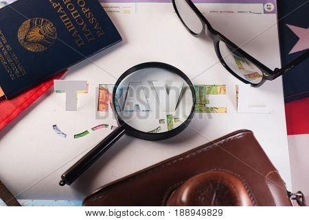 The Concept Of Travel, Passport, Glasses,