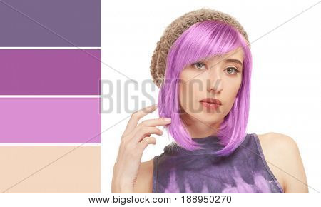 Color matching palette. Young woman with dyed lilac hair on white background