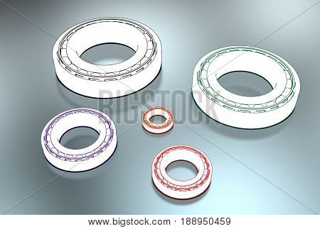 3D illustration of tapered roller bearing isolated on white and metallic