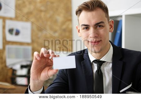 Smiling Businessman In Suit Hold In Hand Business Card