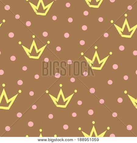Seamless pattern with crowns painted by hand rough brush. Randomly scattered dot. Vector illustration. Yellow pink brown color.