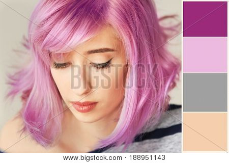 Trendy hairstyle ideas. Lilac color matching and young woman with dyed hair