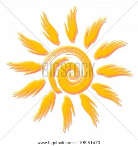Beautiful optimistic sun vector style watercolours. Beautiful symbol for travel flyer