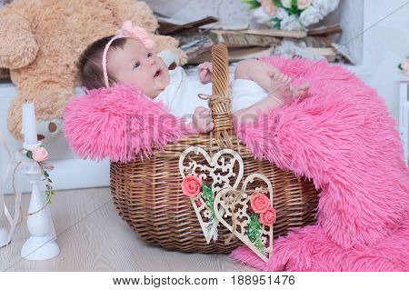 newborn baby girl in pink blanket lying in basket cute card composition