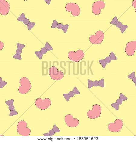 Patches cute hearts and bows. Color seamless pattern. Vector illustration. Purple pink black light yellow.