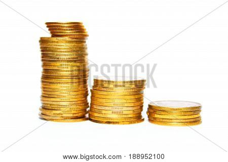 Stack of gold coins isolated on white background close-up
