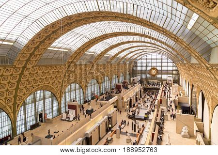 Paris, France, March 28 2017: The interior of musee d'orsay on September 12 2015 in Paris. It is housed in the former Gare d'Orsay, a Beaux-Arts railway station built between 1898 and 1900