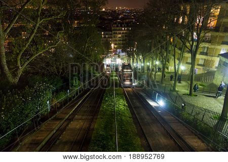 Paris, France, March 28 2017: Montmartre Funicular at night