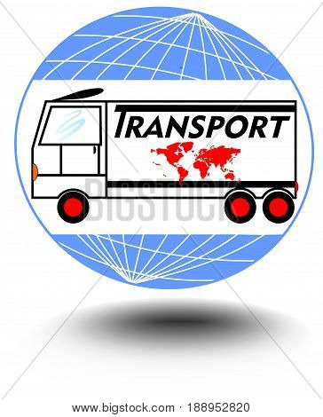 Emblem with a truck on a globe background for transport activities. For use in advertising leaflets and materials transport companies