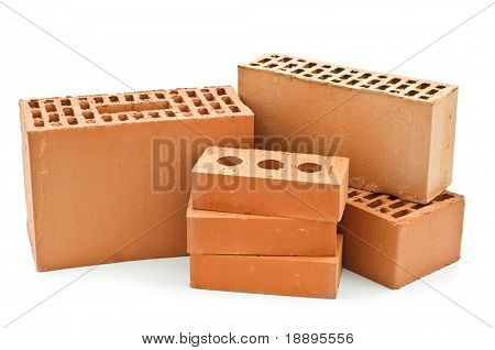 building bricks on white background