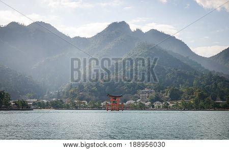 Giant Torii On The Sea In Hiroshima, Japan