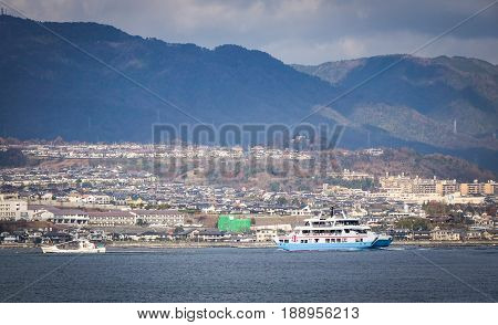 Ferry On The Sea In Hiroshima, Japan