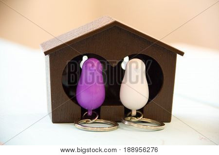 House Key On A House Shaped Keychain On Wooden Table. Concept For Real Estate Or Renting Home.