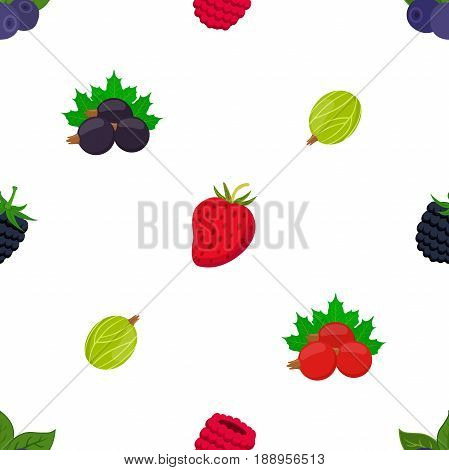 Seamless pattern of cartoon berries. Raspberry, blackberry, gooseberry, red currant, black currant. Flat style.