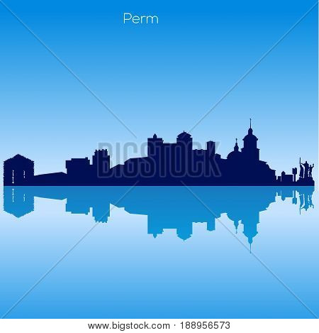 Vector detailed skyline City of Perm. Russia