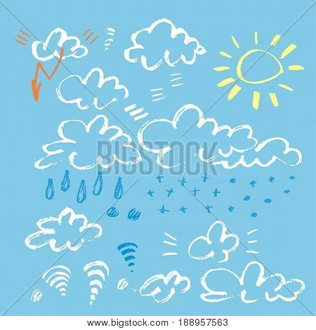 Set of various unique clouds on blue background. Marker stroke sky. Hand drawn clouds. Marker stroke sky.