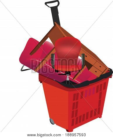 Shopping trolley with home furniture Shopping trolley with home furniture