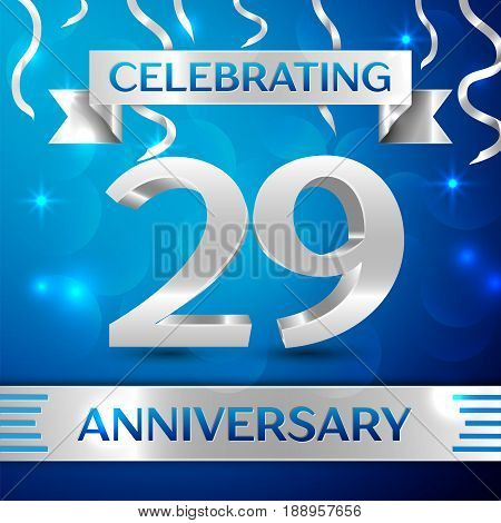 Twenty nine Years Anniversary Celebration Design. Confetti and silver ribbon on blue background. Colorful Vector template elements for your birthday party. Anniversary ribbon