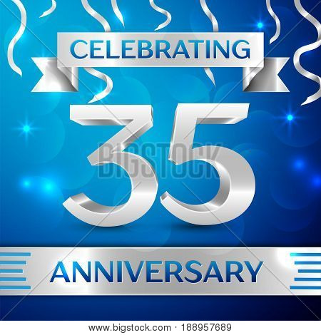 Thirty five Years Anniversary Celebration Design. Confetti and silver ribbon on blue background. Colorful Vector template elements for your birthday party. Anniversary ribbon