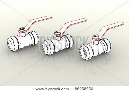 3d ball valves isolated on white and metallic