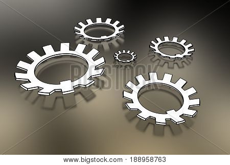 3d illustration of washers isolated white and metallic