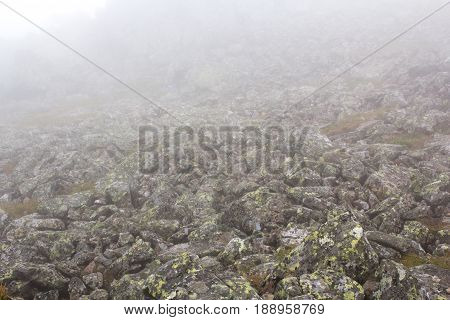 Gloomy Mountain Landscape. Fog In The Mountains, The Gloom Comes Down From The Mountains. Mountain P