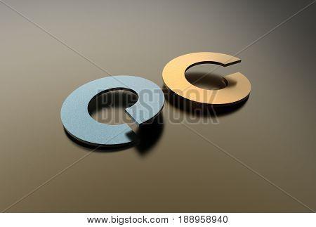 3d illustration of washers isolated on metallic