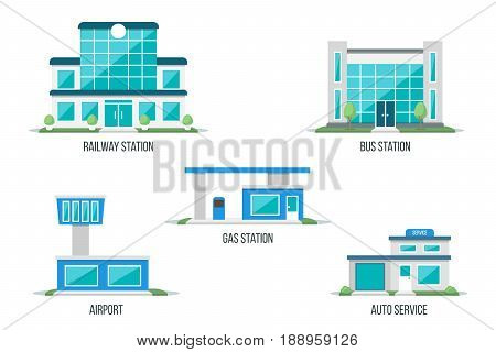 Vector illustration of different types of transport related buildings: railway station bus station airport gas station auto service. Isolated on white background. Flat design style. Eps 10.
