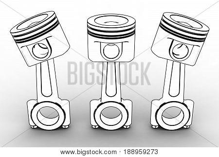 3d illustration of engine pistons on white background