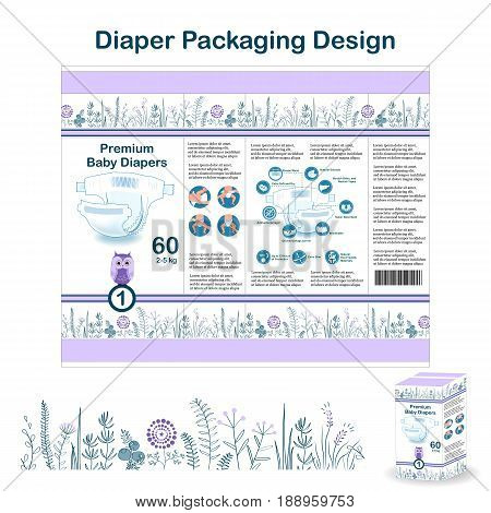 Diaper packaging design elements in doodle forest style. Nappy pakaging design for size 1, with floral border, diaper icons, and owl. Vector illustartion