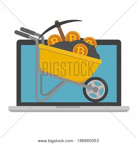 Yellow wheelbarrow filled with soil and pickaxe and bitcoin on computer laptop screen monitor. Vector illustration Bitcoin mining concept.