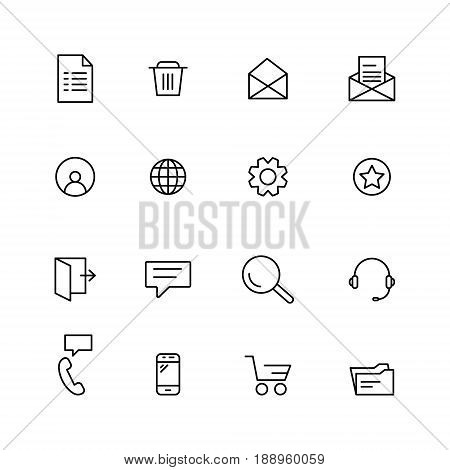 Icons for web and mobile Interfaces. Set of line icons.