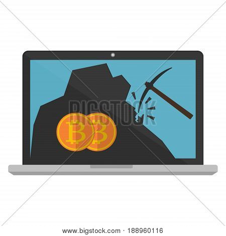 Computer laptop monitor displaying bitcoin mining on white background. Vector illustration Bitcoin mining concept.