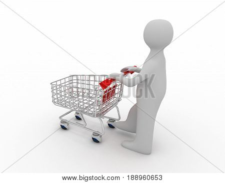 Man pushing a shopping cart empty . rendered illustration