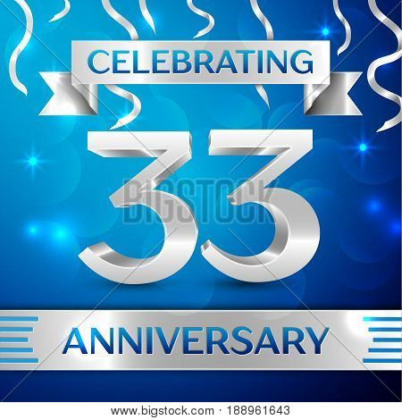 Thirty three Years Anniversary Celebration Design. Confetti and silver ribbon on blue background. Colorful Vector template elements for your birthday party. Anniversary ribbon