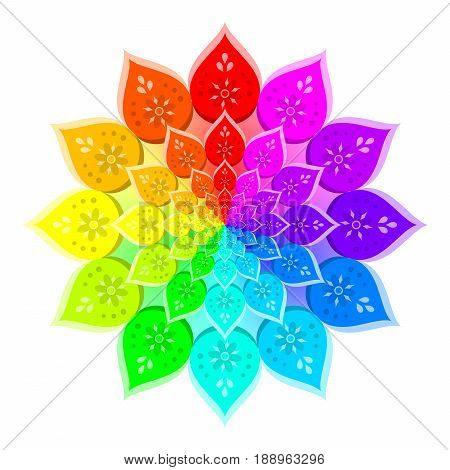 Abstract rainbow colored mandala, Flower isolated on white background, Colorful bloom, Multicolor esoteric petal mandala